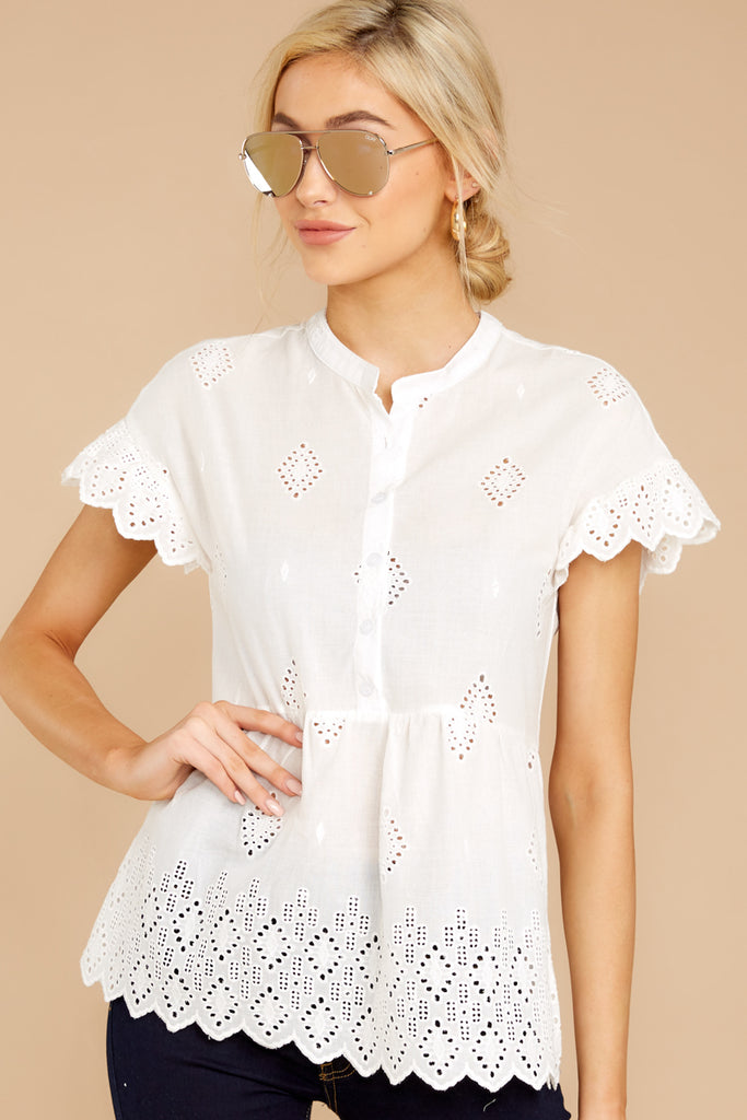 1 There You Go Again White And Blue Embroidered Top at reddressboutique.com