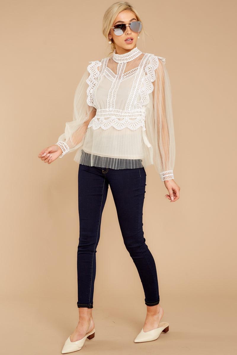 2 Frankly Darling Nude Lace And Tulle Top at reddressboutique.com