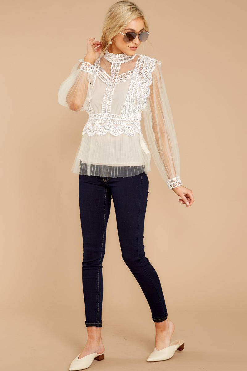 3 Frankly Darling Nude Lace And Tulle Top at reddressboutique.com