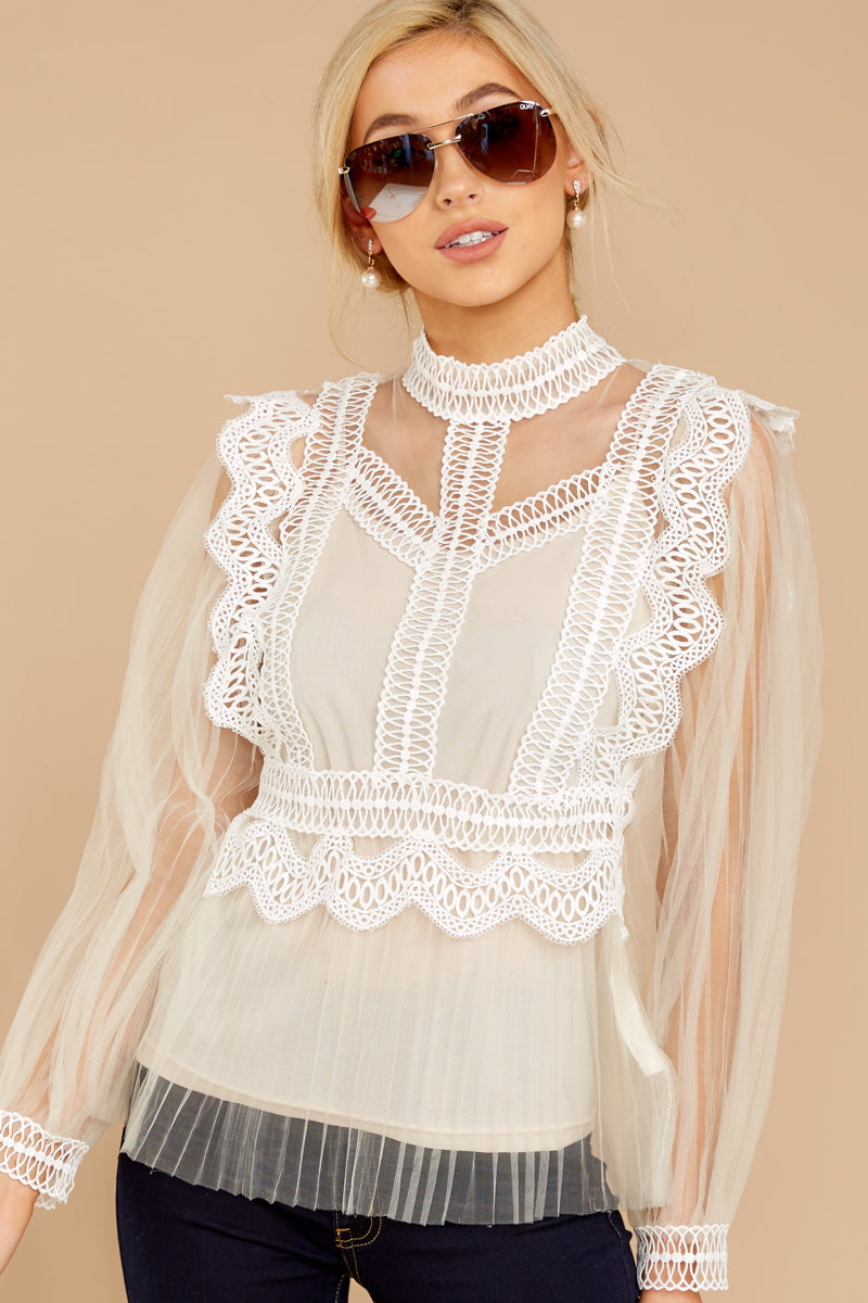 4 Frankly Darling Nude Lace And Tulle Top at reddressboutique.com