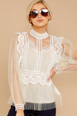 5 Frankly Darling Nude Lace And Tulle Top at reddressboutique.com