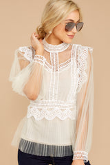 6 Frankly Darling Nude Lace And Tulle Top at reddressboutique.com