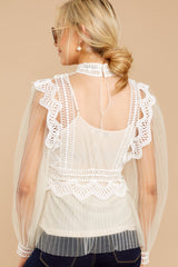 7 Frankly Darling Nude Lace And Tulle Top at reddressboutique.com