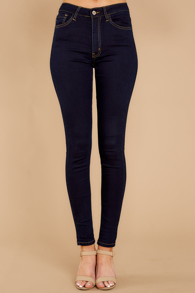 2 Leaving With This Dark Wash Skinny Jeans at reddress.com