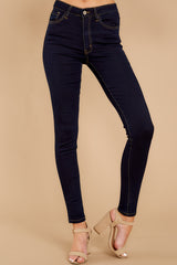 1 Leaving With This Dark Wash Skinny Jeans at reddress.com
