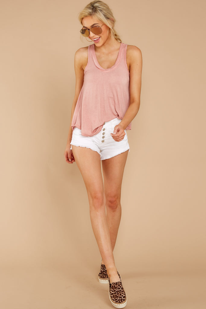 5 Sleek And Sassy Ivory Blush Satin Tank Top at reddressboutique.com