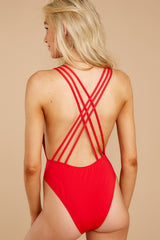 6 Rescue Me Red One Piece at reddressboutique.com