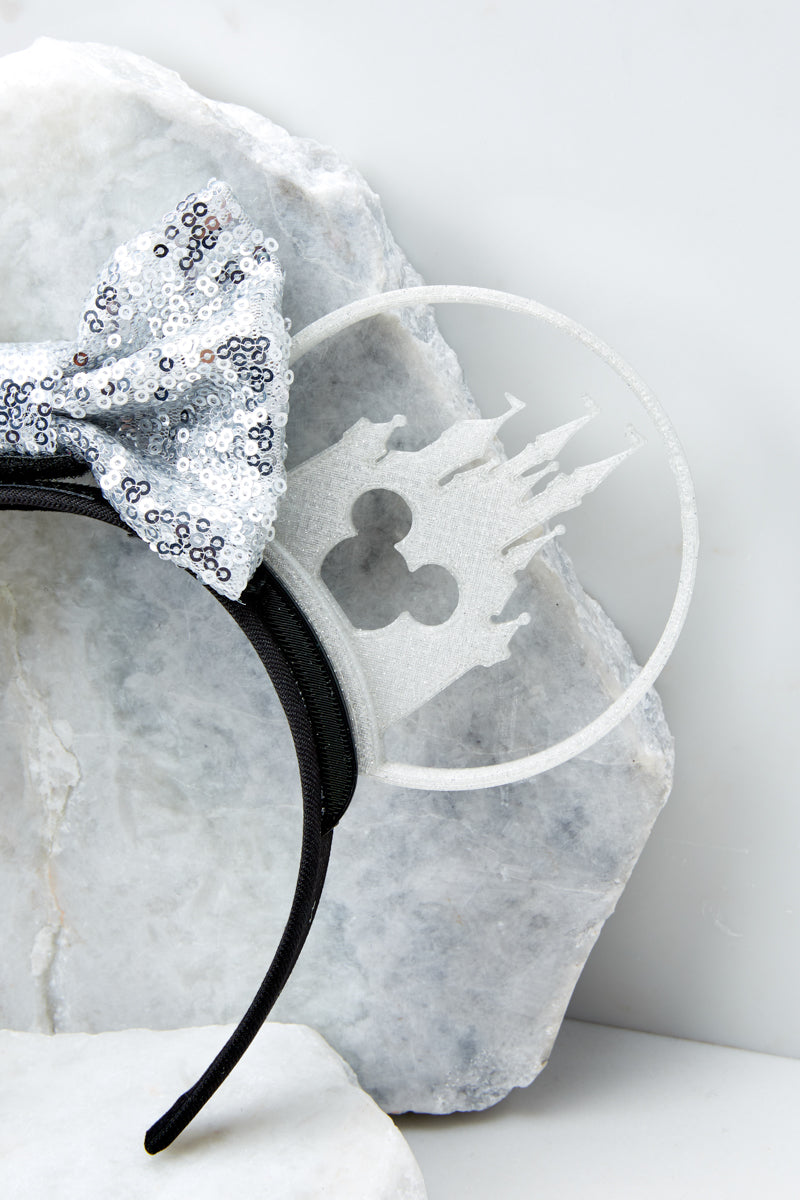 5 Castle Silhouette With White Holographic Sequin Bow at reddress.com