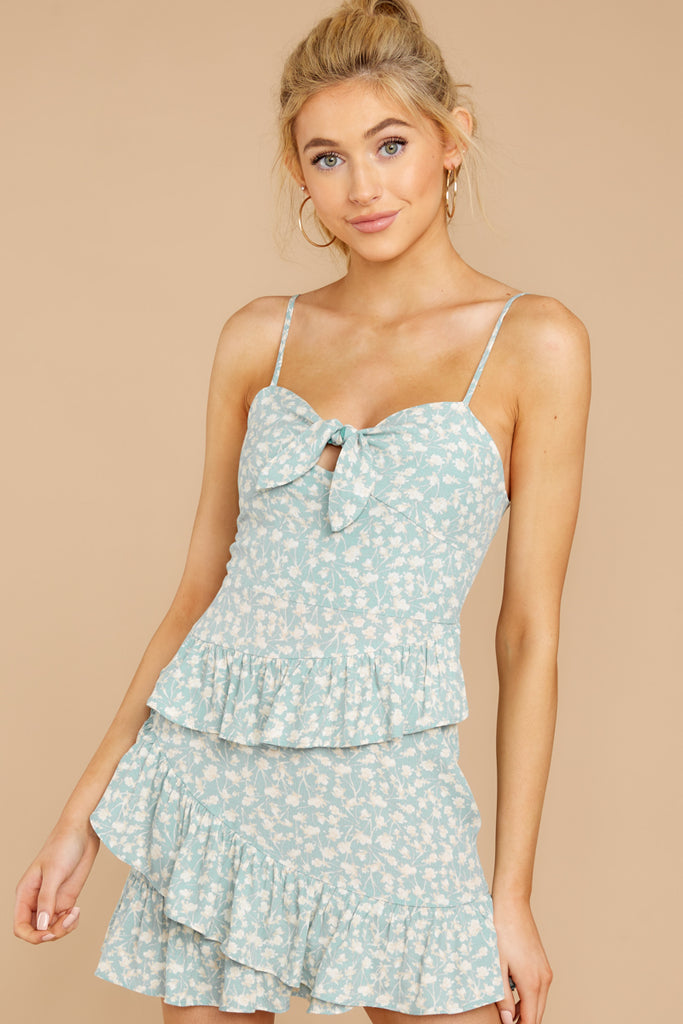 4 Roll The Dice Pale Mint Print Wrap Dress at reddressboutique.com
