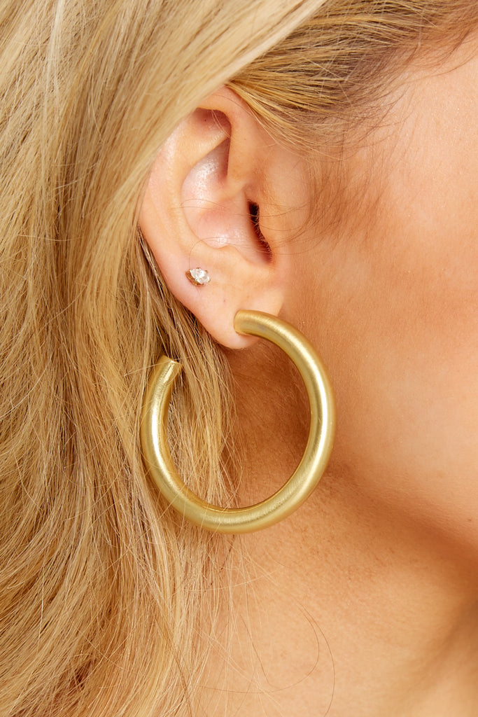 1 For Good Measure Gold Hoop Earrings at reddressboutique.com