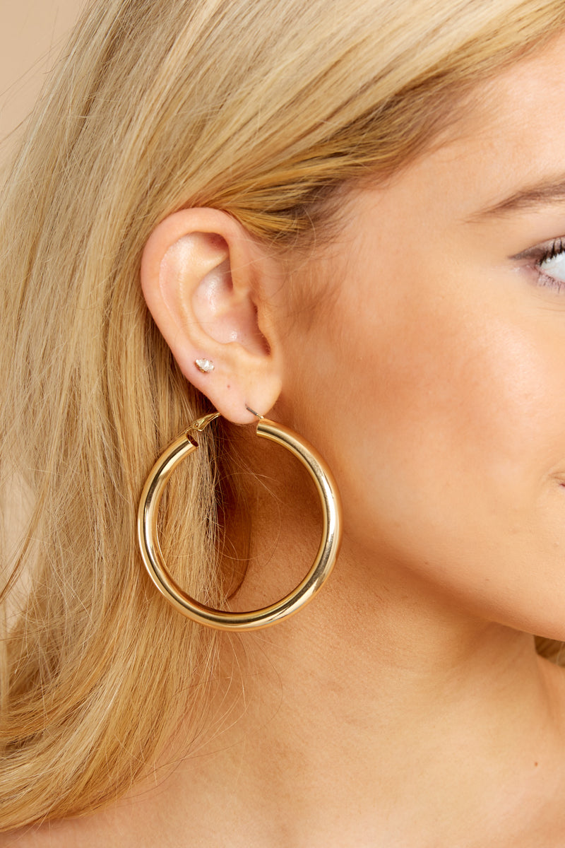 3 Just One More Gold Hoop Earrings at reddressboutique.com