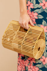2 Going All Over Round Bamboo Bag at reddressboutique.com