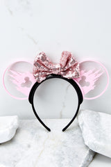 3 Castle Silhouette With Bubblegum Pink Sequin Bow at reddressboutique.com