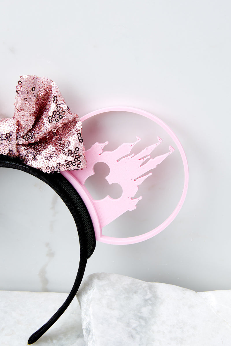 4 Castle Silhouette With Bubblegum Pink Sequin Bow at reddressboutique.com
