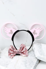 6 Castle Silhouette With Bubblegum Pink Sequin Bow at reddressboutique.com