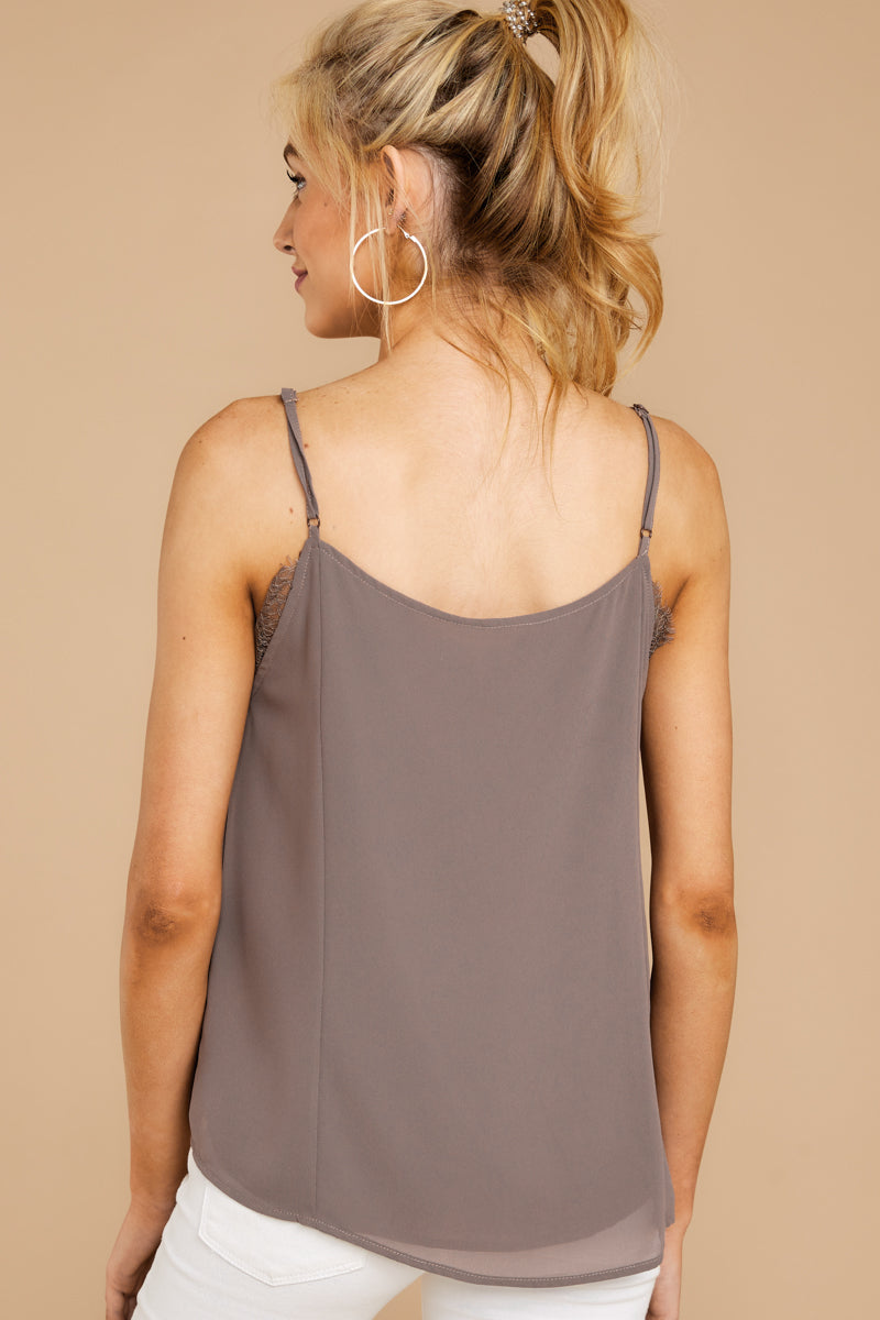 Lace To Meet You Dark Mauve Tank Top