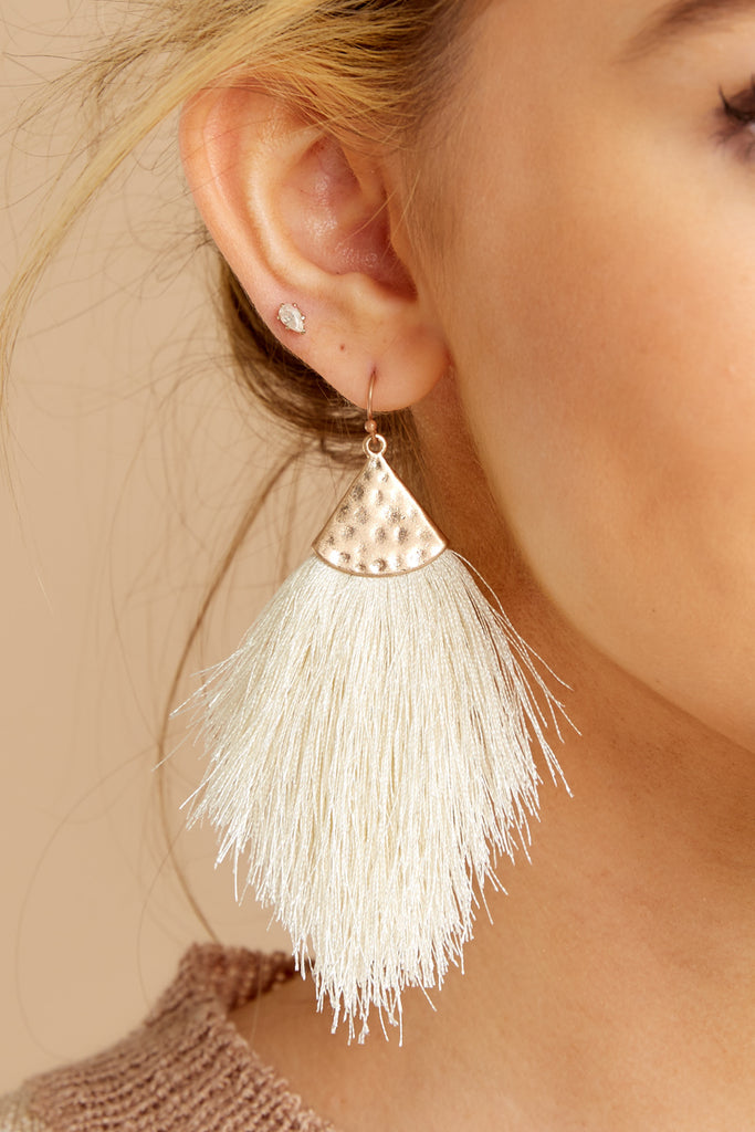 1 Have It All White Tassel Statement Earrings at reddressboutique.com