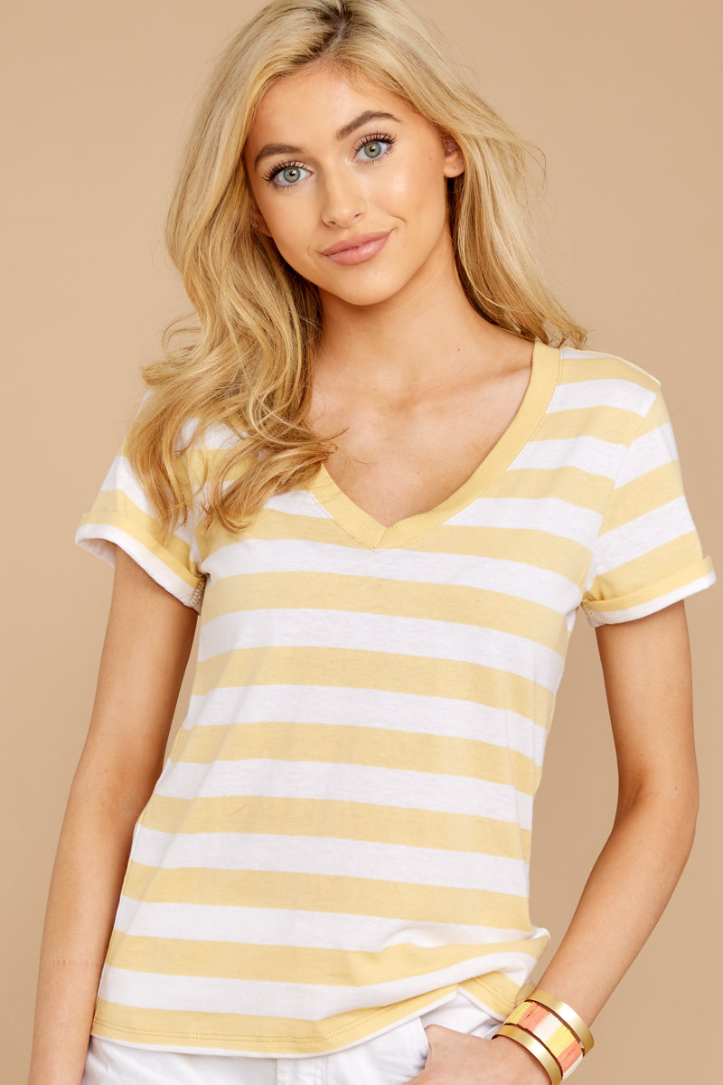 1 The Sienna V-Neck Tee In Yellow Cream at reddressboutique.com