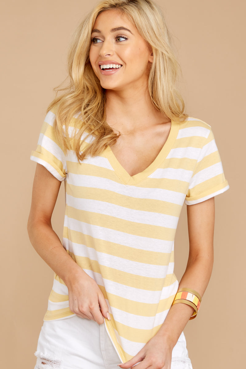2 The Sienna V-Neck Tee In Yellow Cream at reddressboutique.com
