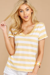 3 The Sienna V-Neck Tee In Yellow Cream at reddressboutique.com