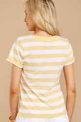 5 The Sienna V-Neck Tee In Yellow Cream at reddressboutique.com