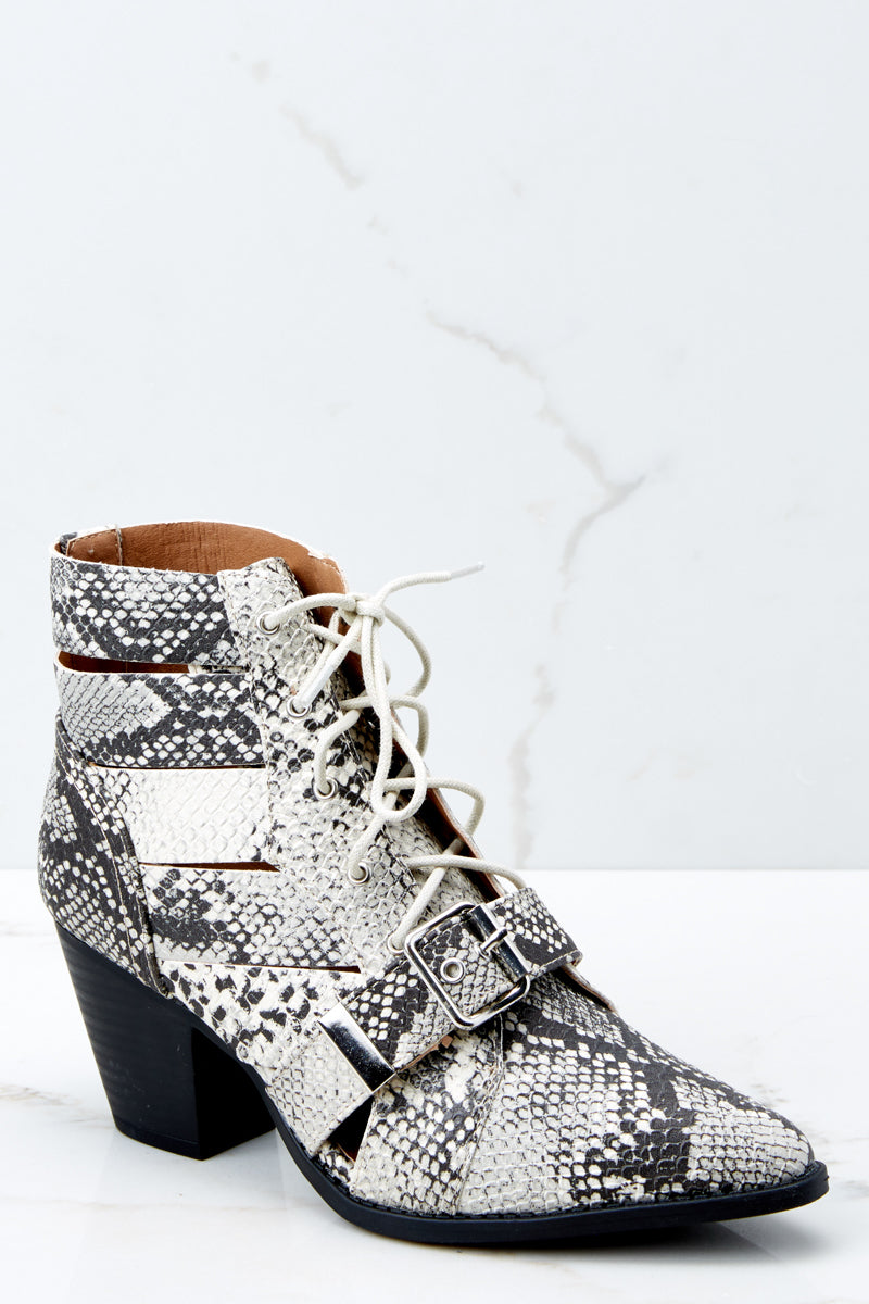 41b3a7afcb6 Sexy Grey Snake Skin High Heeled Boots - Lace Up Boots - Shoes -  40 ...
