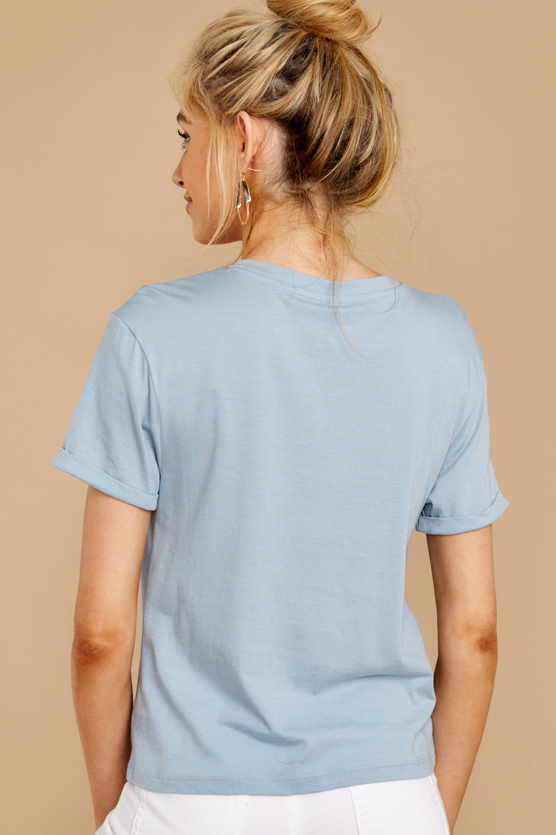 The Tie Front Crew Tee In Dusty Blue