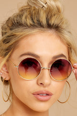 1 Catch A Glimpse Rose To Yellow Sunglasses at reddressboutique.com