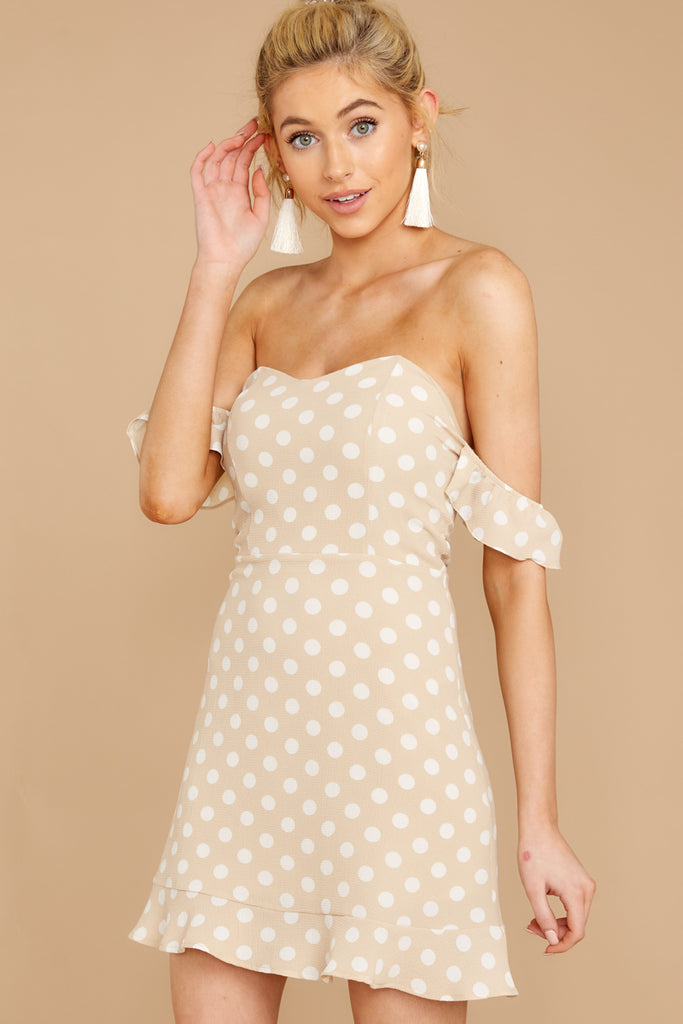 1 Keeping Cool Tan Polka Dot Dress at reddressboutique.com