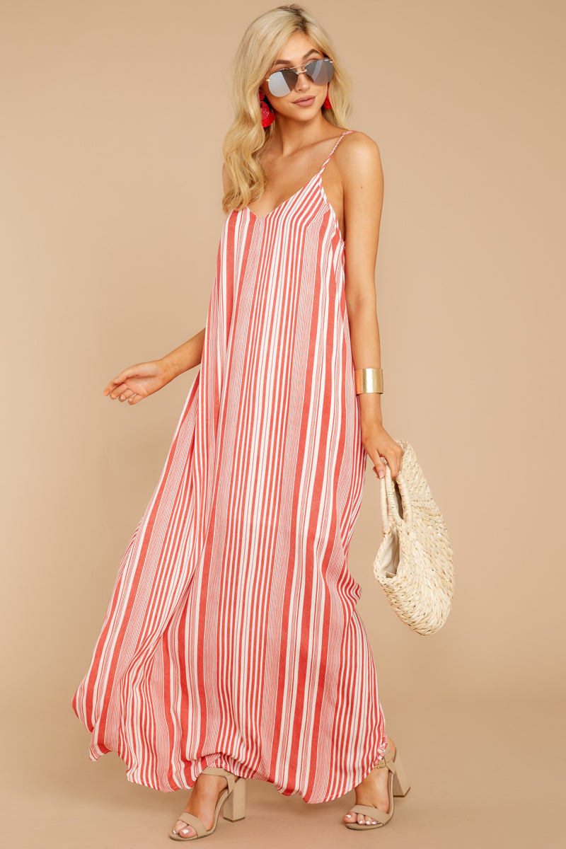 Could You Forget Tomato Stripe Maxi Dress