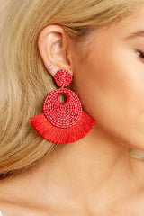 2 Better Than Fiction Red Earrings at reddressboutique.com