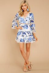 7 Time To Bloom Blue Floral Lace Dress at reddress.com