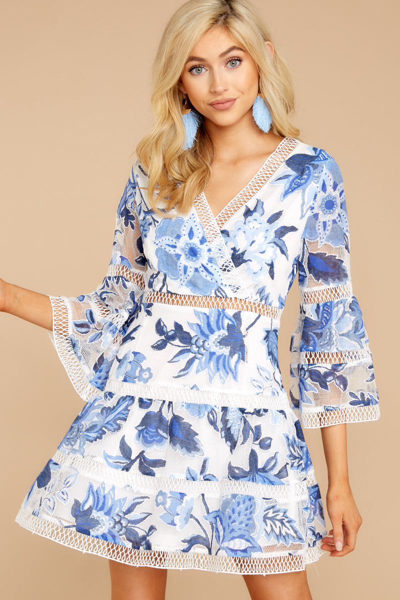 8 Time To Bloom Blue Floral Lace Dress at reddress.com
