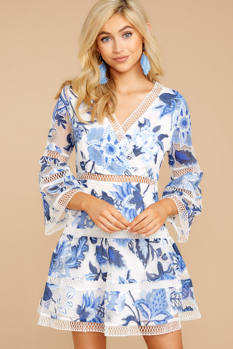 9 Time To Bloom Blue Floral Lace Dress at reddress.com