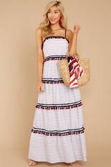 1 Chic On Vacay White Striped Maxi Dress at reddressboutique.com