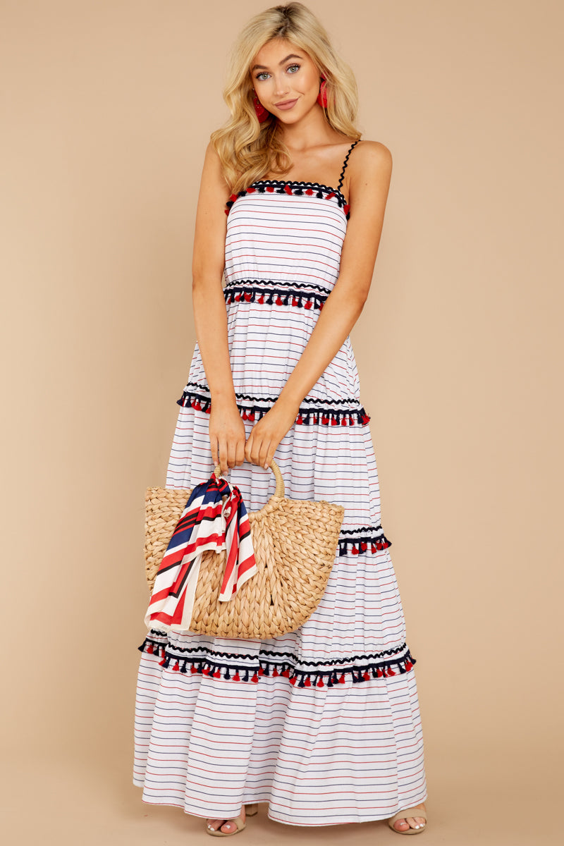 2 Chic On Vacay White Striped Maxi Dress at reddressboutique.com