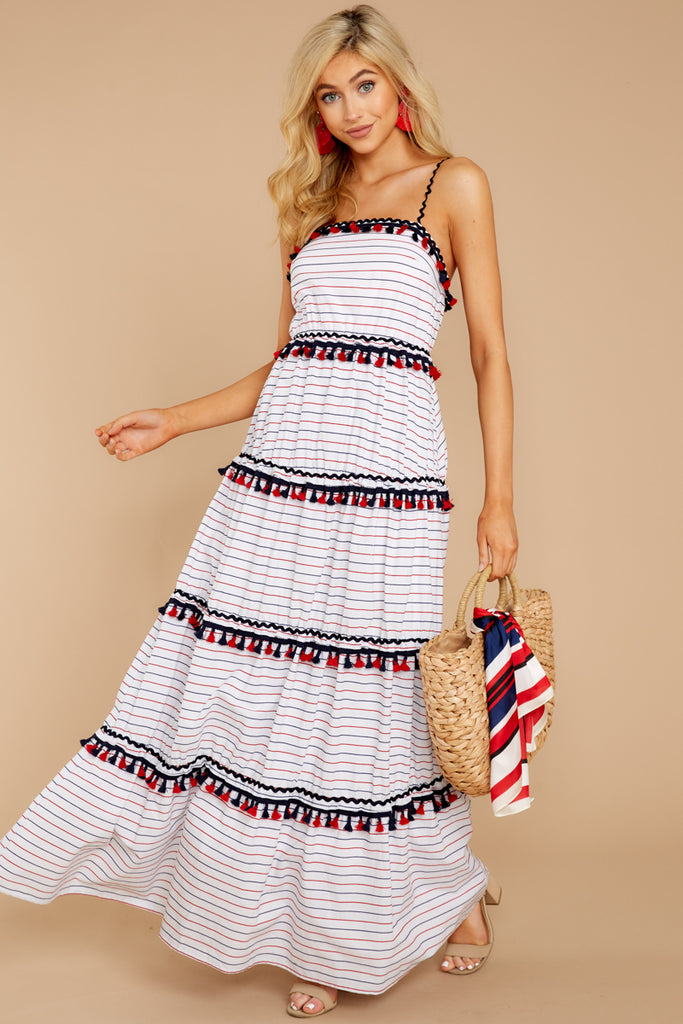 f0ef03f099c Chic On Vacay White Striped Maxi Dress