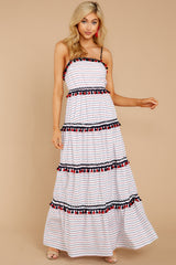 4 Chic On Vacay White Striped Maxi Dress at reddressboutique.com