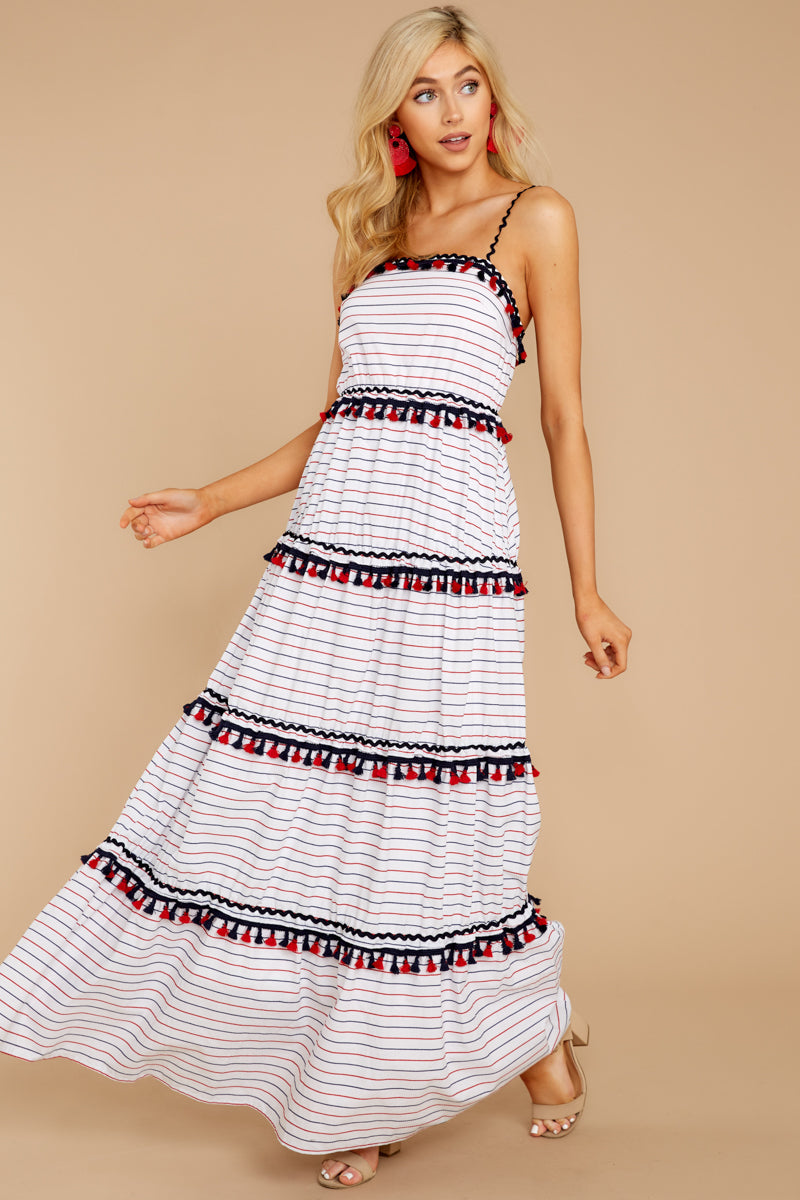 5 Chic On Vacay White Striped Maxi Dress at reddressboutique.com
