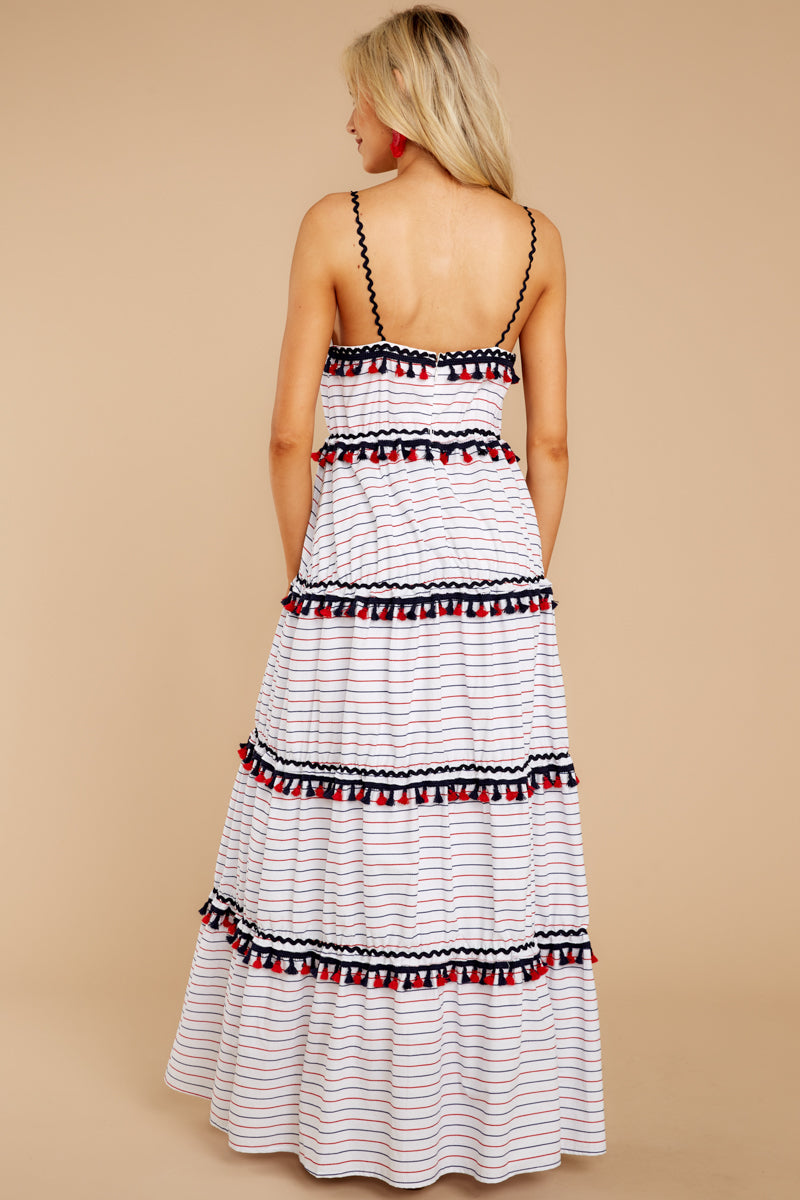 6 Chic On Vacay White Striped Maxi Dress at reddressboutique.com