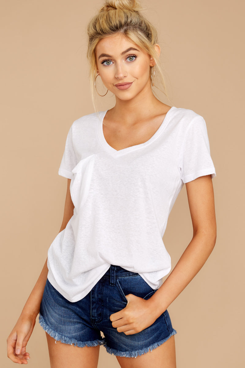 4 The Triblend Pocket Tee In White at reddressboutique.com