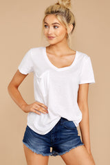 5 The Triblend Pocket Tee In White at reddressboutique.com