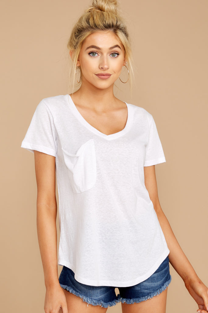 1 The White Cotton Slub Pocket Tee at reddress.com