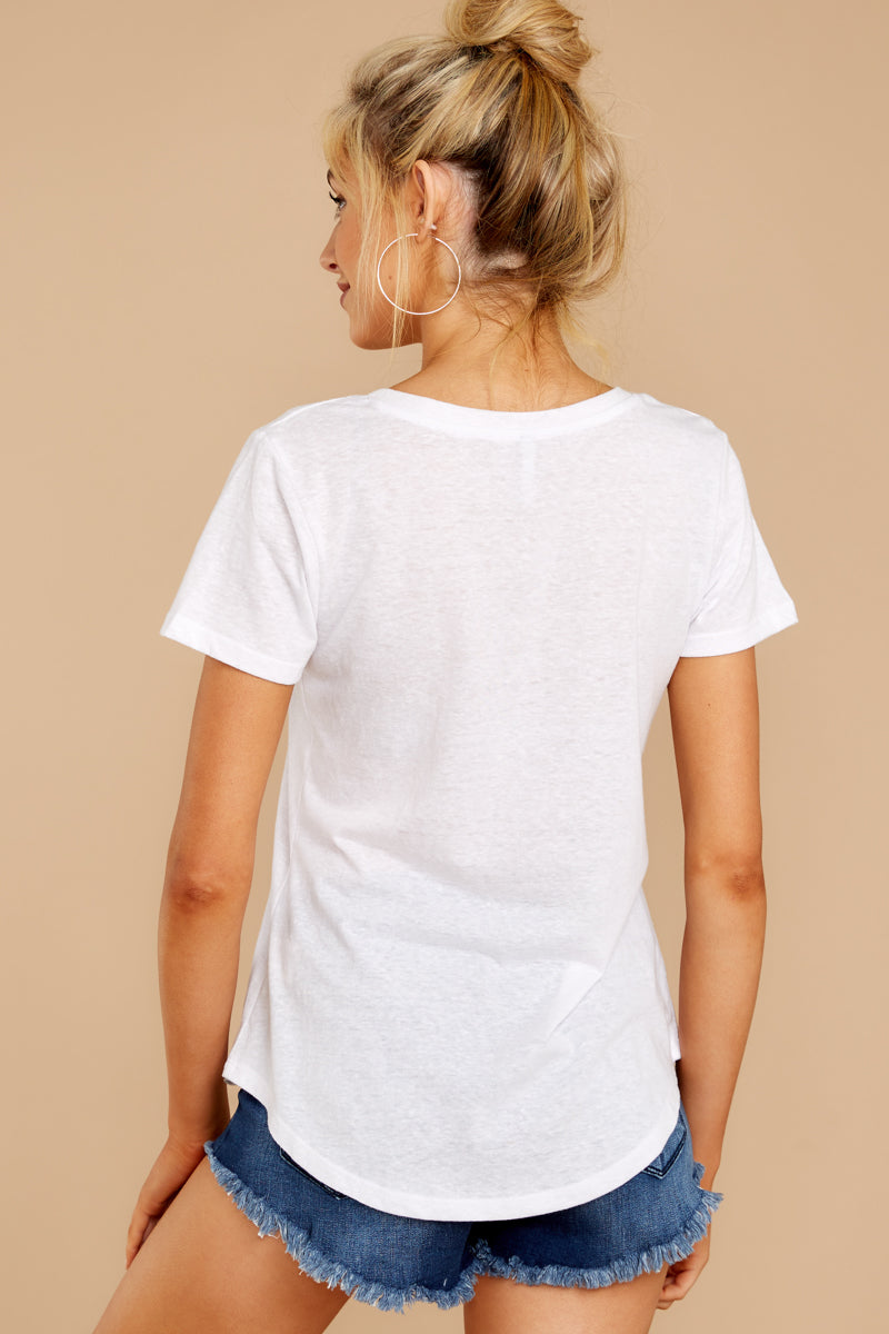 7 The Triblend Pocket Tee In White at reddressboutique.com