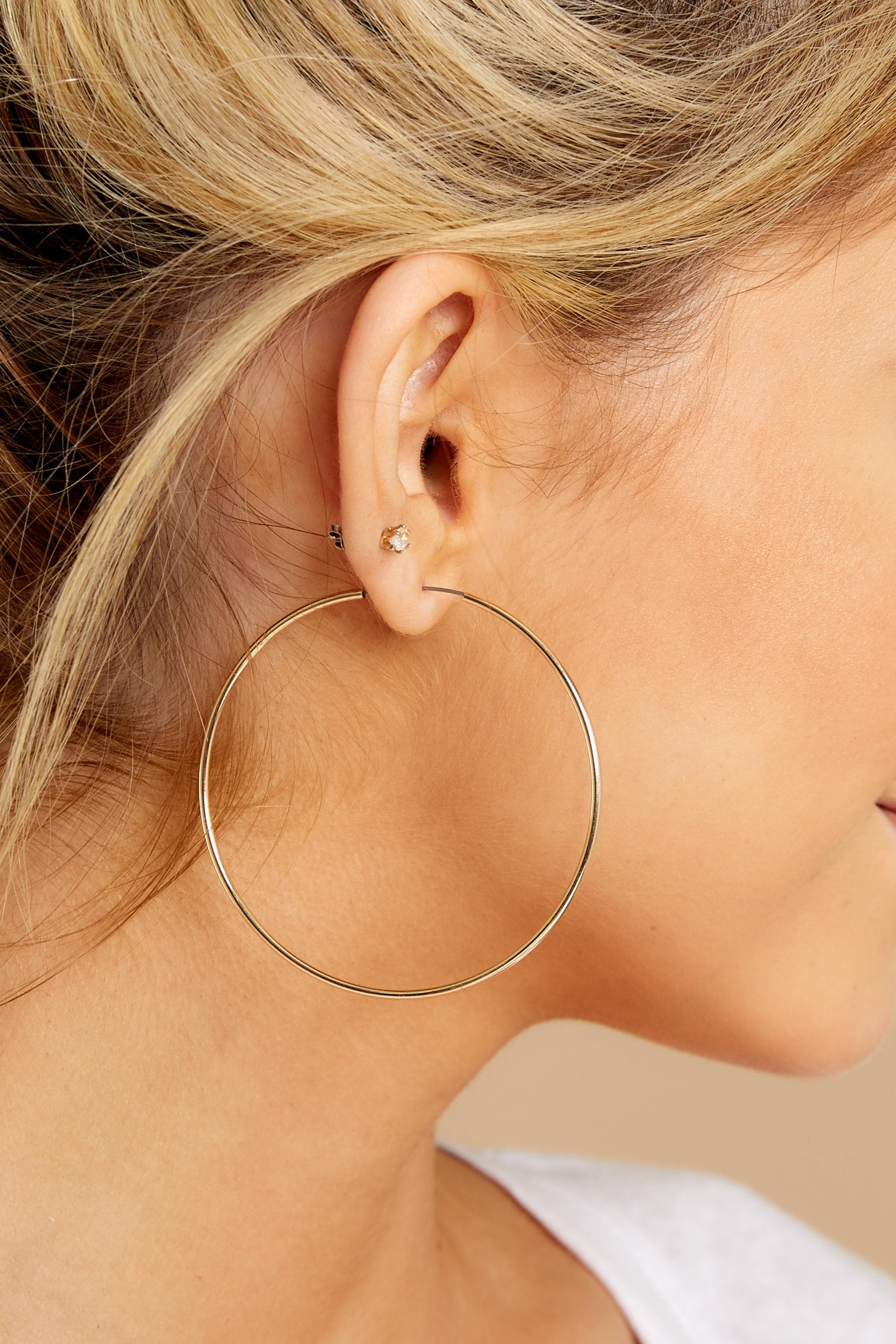 1 Beyond Reason Gold Hoop Earrings at reddress.com
