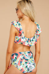 5 Reeling With Feeling Coral Tropical Print Bikini Top at reddressboutique.com