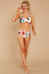 1 Finding Paradise Orange Tropical Print Bikini Top at reddressboutique.com