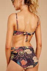 3 Going Along With It Navy Tropical Print Bikini Top at reddressboutique.com
