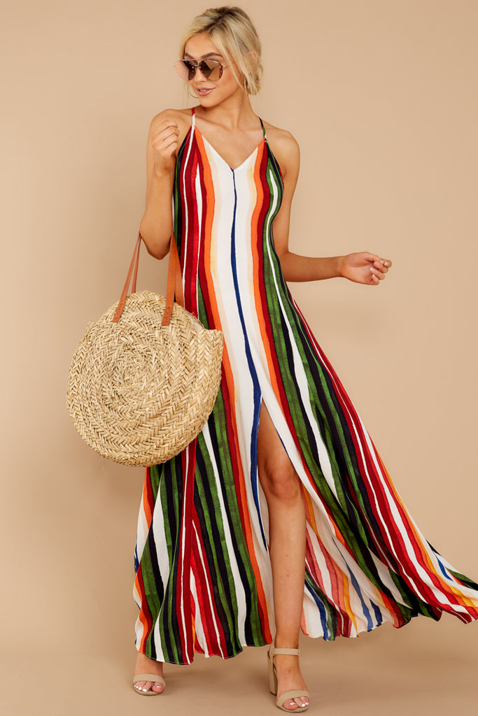 3 Jubilee With Me Rainbow Stripe Button Up Maxi Dress at reddressboutique.com