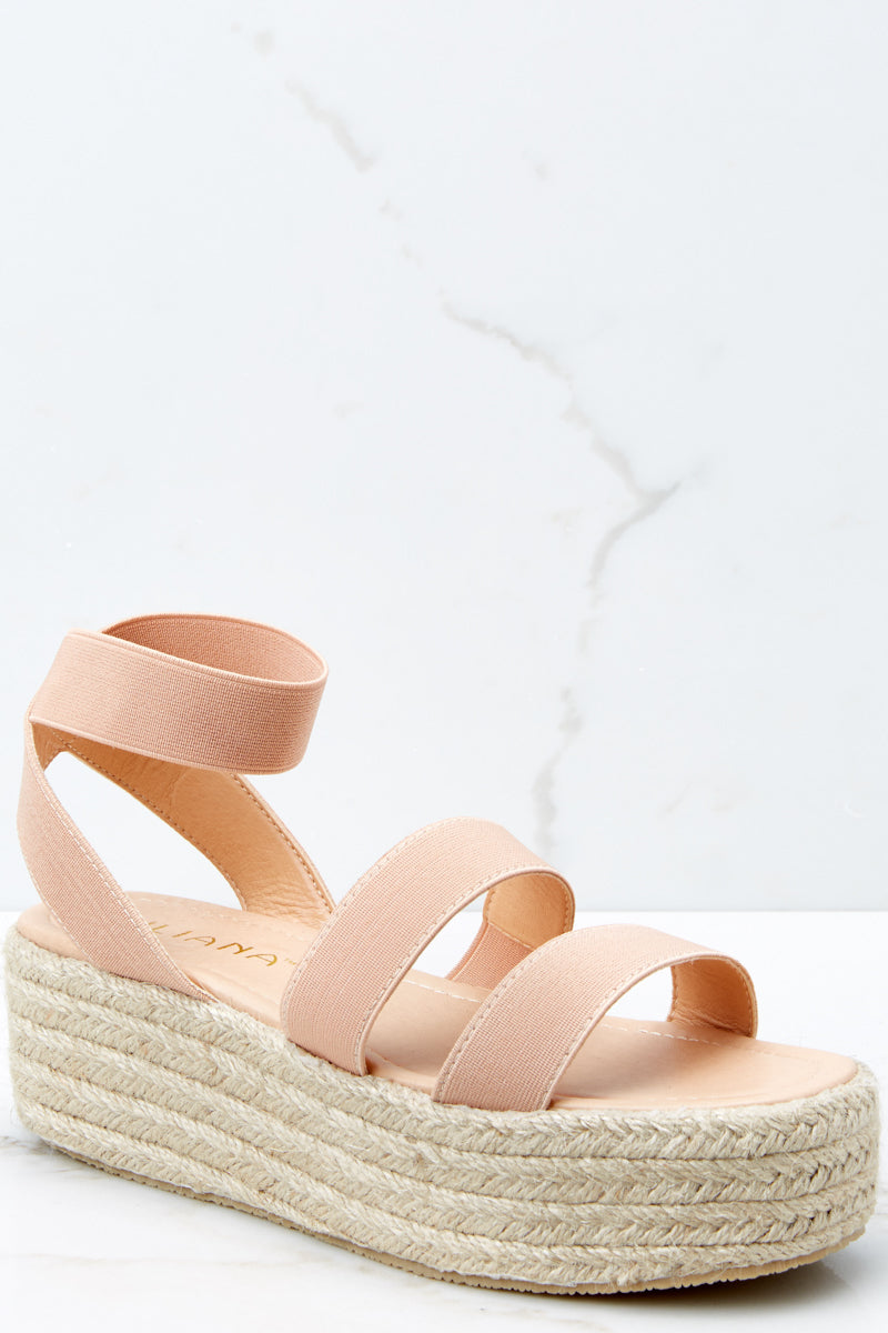 Sassy Nude Wedge Sandals - Ankle Strap